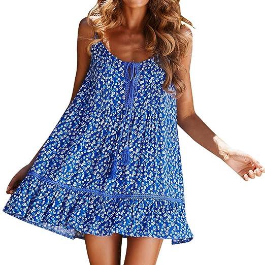 e9923e3921e6 Women's Sexy Loose Printing Boho Dress Tassel V-Neck Button Sleeveless Mini  Dress Princess Dresses
