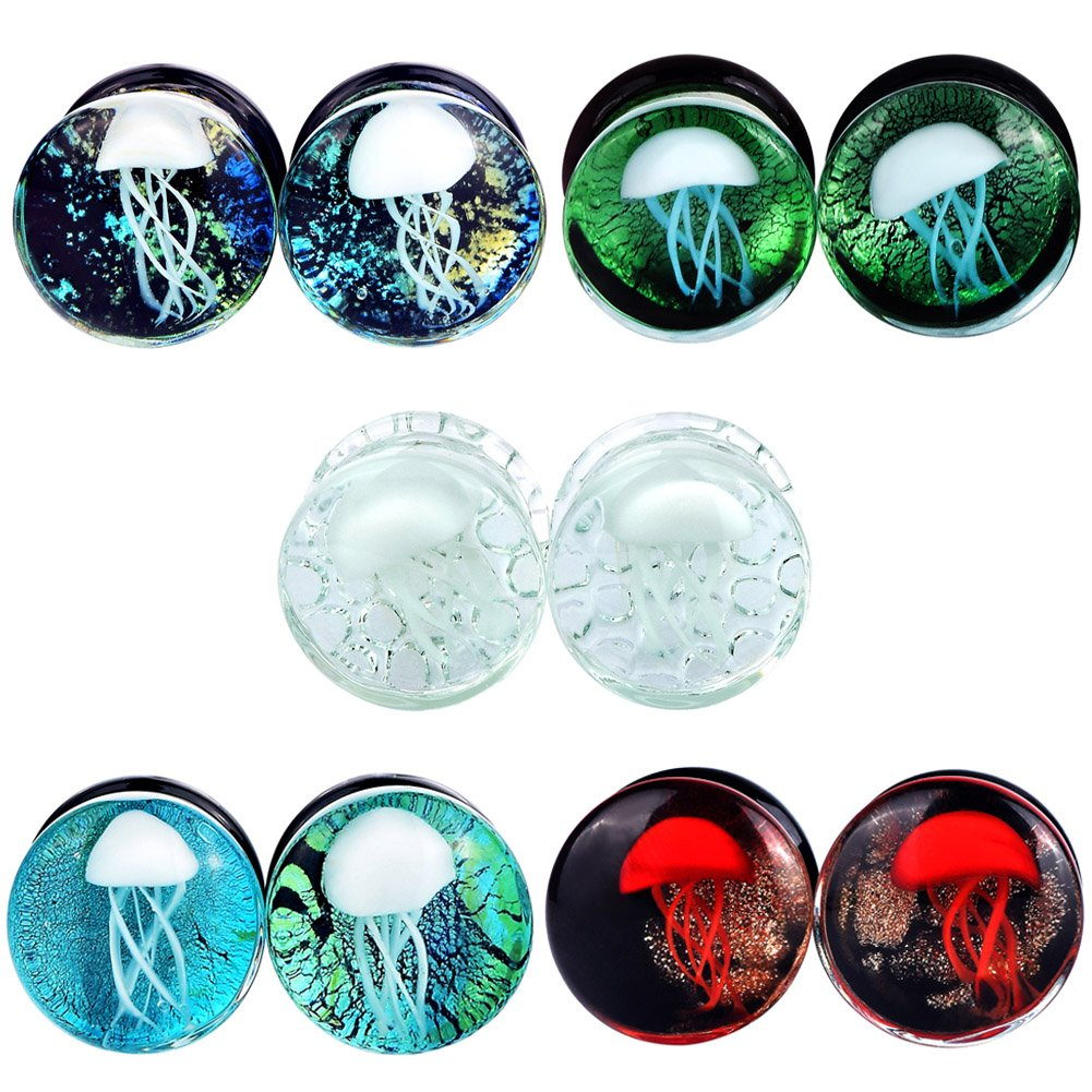Yungger 5 Pairs Glass Double Flare Saddle Jellyfish Ear Plugs Kit Gauge 5/8'' of 5 Colors