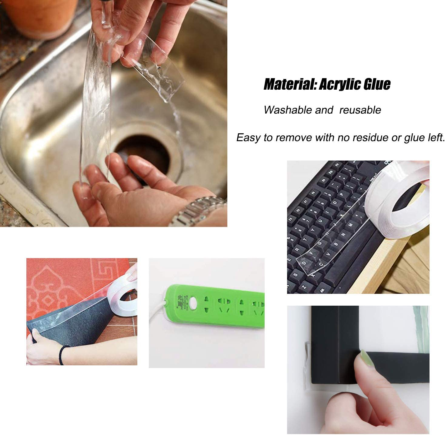 with 2pcs Silicone Pad Anti-Slip Reusable Car Mat for Carpet Rug Key Phone Coin LORITARIA Double Sided Gel Removable Adhesive Tape 2m//6.56ft Long, 2mm Thick Traceless Clear Washable Tape Roll