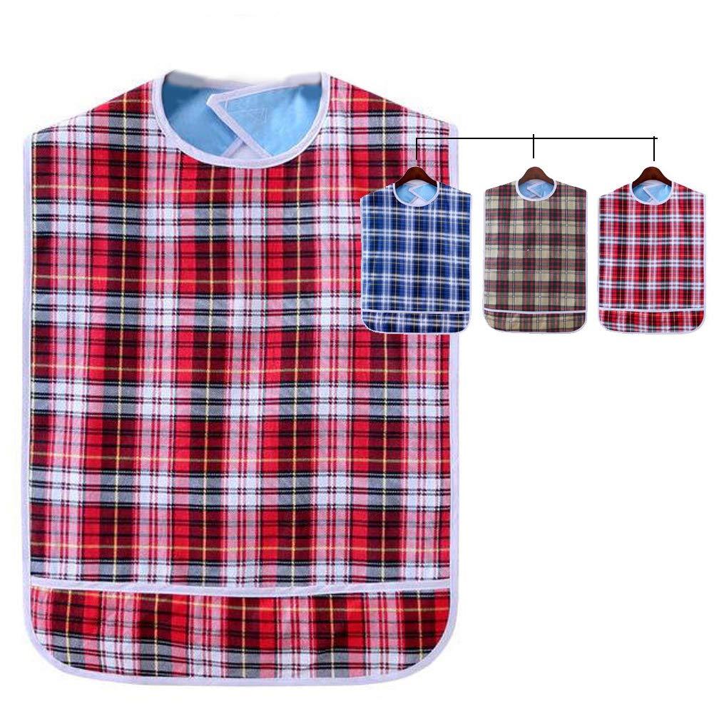 Adult Bib Clothing Protector Reusable Waterproof Crumb Catcher Machine Washable (Red Blue Khaki)