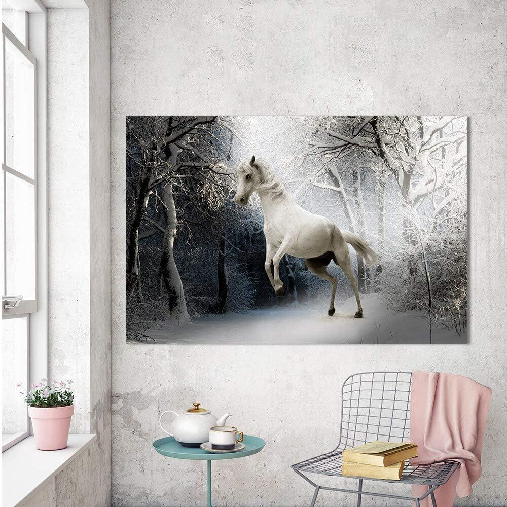 N / A Pintura sin Marco Arte de la Lona Pintura Mural Animal, Sala de Estar Caballo en la Nieve decoración del hogar de inviernoZGQ7550 30x45cm