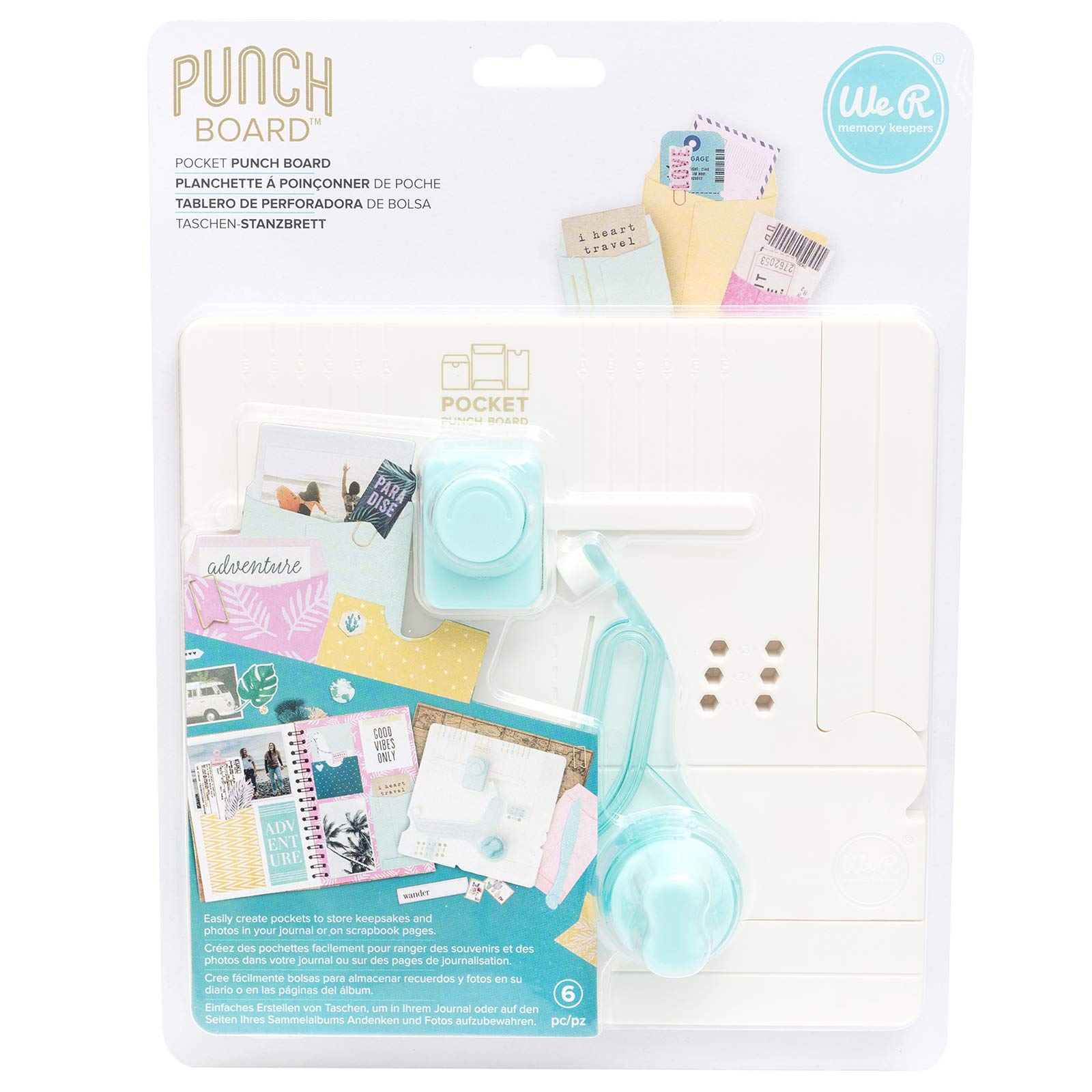 We R Memory Keepers 660484 0633356604846 Tool Journaling-Pocket Punch Board (6 Piece), Multicolor by We R Memory Keepers