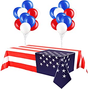 2 Pieces 4th of July American Flag Tablecloth, Plastic Stars and Stripes Patriotic Table Cover with 30 Red White and Blue Balloons for July 4th Halloween Party Supply Decor, 51 x 71 Inch