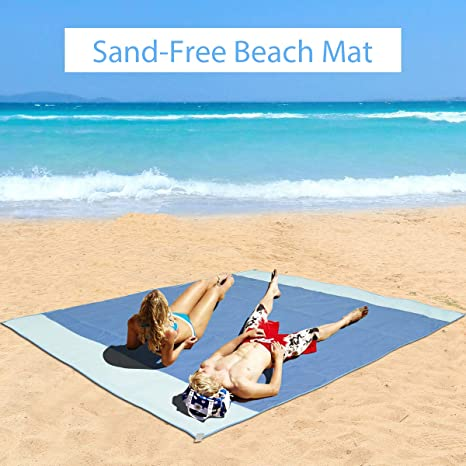 bc464a732c ORANDESIGNE Oversized Sand Proof Beach Blanket 78  x 78  Large Size  Foldable Waterproof Beach