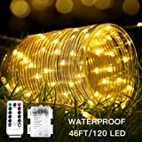 Moobibear LED Rope Lights Battery Operated 46ft 8 Modes Dimmable Waterproof 120 LRDs String Lights with Remote Timer, 3000k Warm White Fairy Lights For Outdoor Indoor Home Decoration