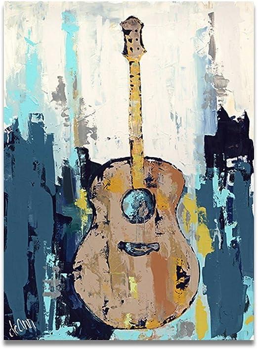 TTKX@@ Hecho A Mano Pintura Al Óleo Sobre Lienzo Guitarra Música ...