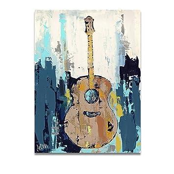 TTKX@@ Hecho A Mano Pintura Al Óleo Sobre Lienzo Guitarra Música Lienzo Imágenes De Pared para La Sala De Estar Decoración del Hogar Sin Marco, ...