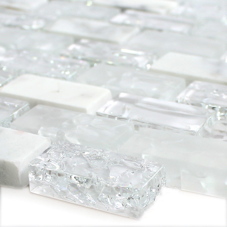 Bruchglas Effekt Gebrochenes Mosaik Fliese Glasmosaik 23x48x8mm