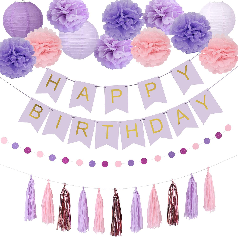 Birthday Party Decorations, Birthday Party Supplies for Girls Decors Kit Pom Pom Lanterns Paper Garland Happy Birthday Banner