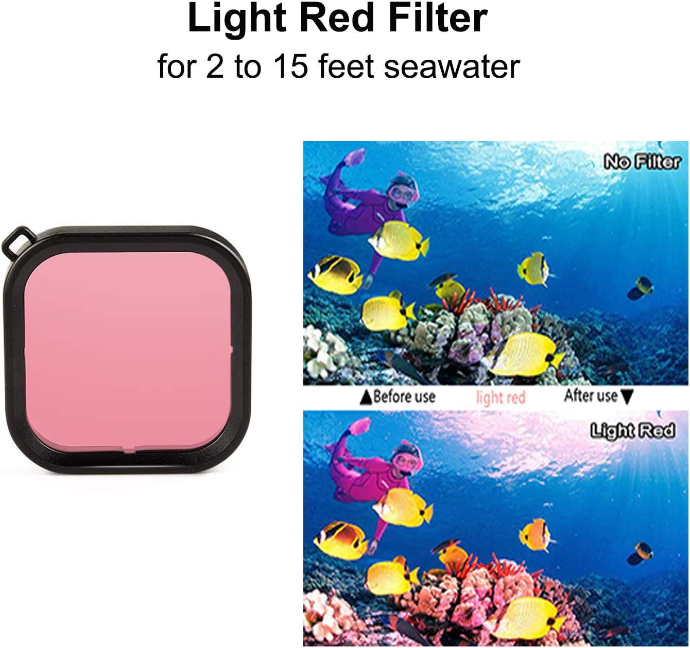 Camera Lens Waterproof Red Diving Filter Absorbing Blue Light for DJI OSMO Action Camera Accessories