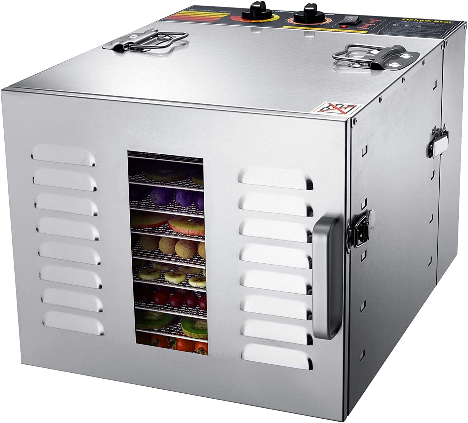 BioChef Arizona 10 Tray Commercial Stainless Steel 1000W Food Dehydrator with 15 Hour Digital Timer, Stainless Steel Trays, 3 x mesh Sheets, 3 x Non-Stick Sheets