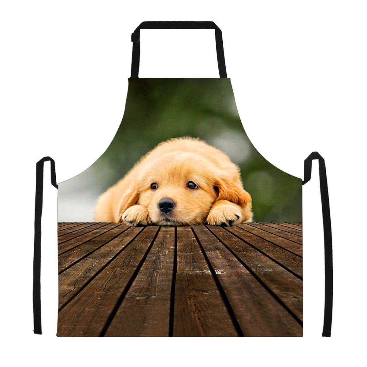 LifeGenius レディース クリスマスエプロン おもしろパーソナライズクッキンググリルベーキングエプロン キャンバス キッチン パーティー レストラン用 L  Dog 1 B07K59GHYC