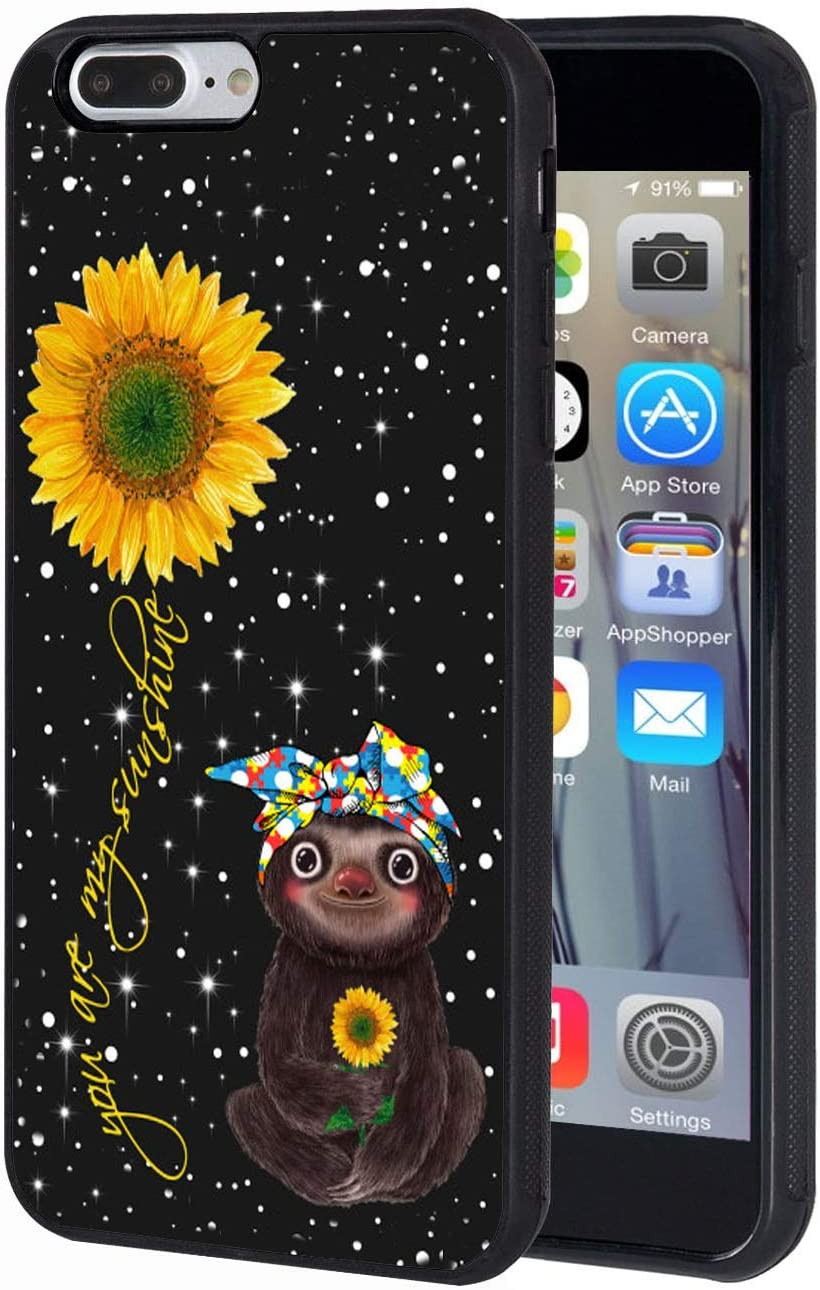 iPhone 7 Plus Case, iPhone 8 Plus Case, Slim Anti-Scratch TPU Rubber Protective Case Cover for iPhone 7 Plus/iPhone 8 Plus 5.5 inch - Sunflower and Sloth