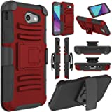 Galaxy J3 Emerge Case, Galaxy J3 Prime Case, Elegant Choise Heavy Duty Dual Layer Full Body Protective Kickstand Case Cover with Belt Clip Holster Case for Samsung Galaxy J327P / J3 2017(Red)