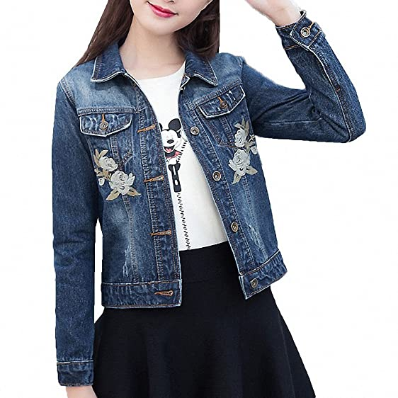 Rose Embroideried Denim Jacket For Women NEW Spring Autumn Long Sleeve Casaco Feminino Elegant Short Chaquetas