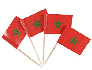 JBCD Morocco Flag Toothpicks Moroccan Flags Party Cupcake Topper Cocktail Tooth Picks Decorations Toothpick Flag Bar Picks Cup Cake Mini Small Paper Flags National Tiny Dinner Food Thin Sticks