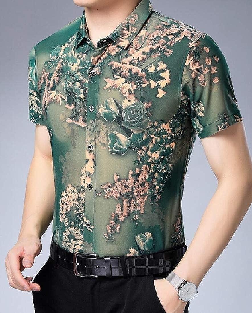 HANA+DORA Mens Summer Short Sleeve Print Beach Aloha Hawaiian Shirt Tops Blouses