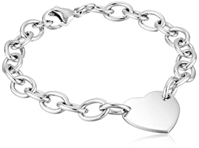 ee7955e7f462 Image Unavailable. Image not available for. Color  Sterling Silver Heart Tag  Bracelet