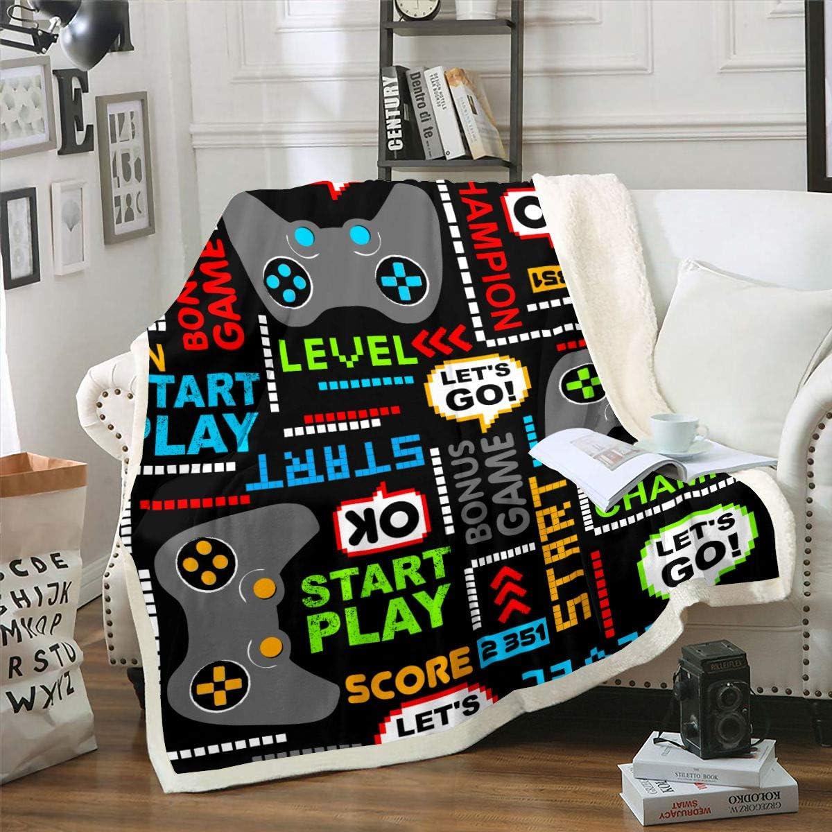 Erosebridal Game Fuzzy Blanket Boys Youth Modern Gamepad Colourful Words Blanket Throw Throw 50