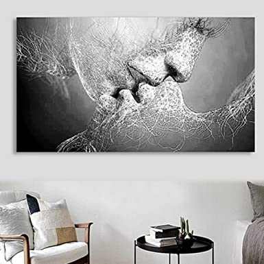 Iumer Wall Decor Black U0026 White Love Kiss Abstract Art On Canvas Painting  Wall Art Picture