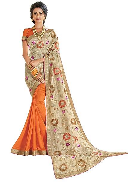 26d6513a083 Laxmipati Saree (5228 Orange Free Size)  Amazon.in  Clothing   Accessories