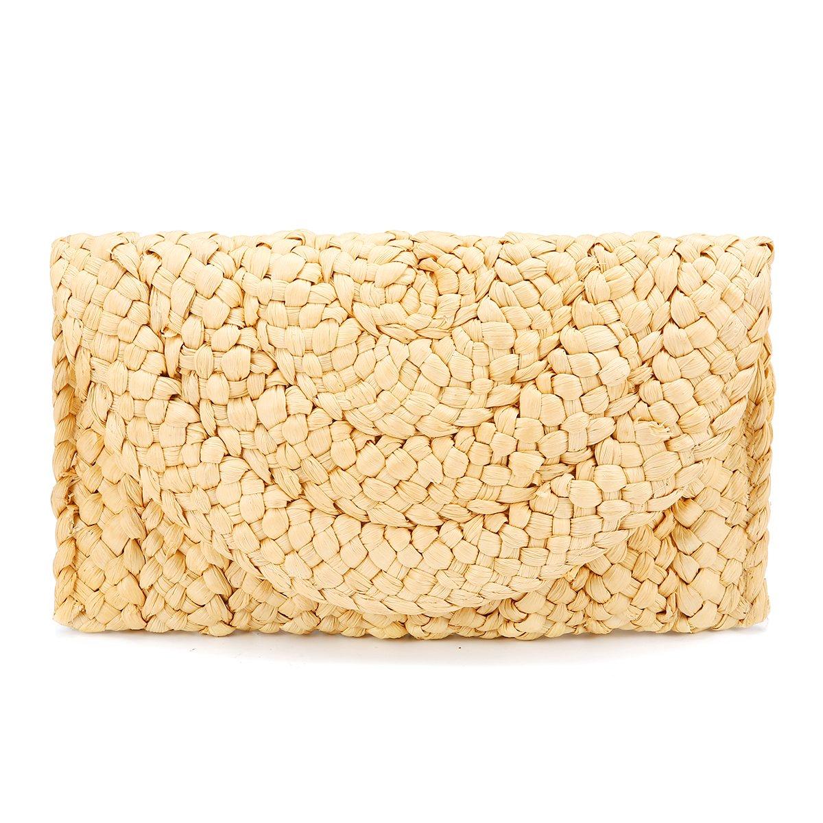 Monedero de embrague de paja,JOSEKO Bolso de mano de mujer Envelope Flat Clutch Bolsa de playa de verano: Amazon.es: Equipaje