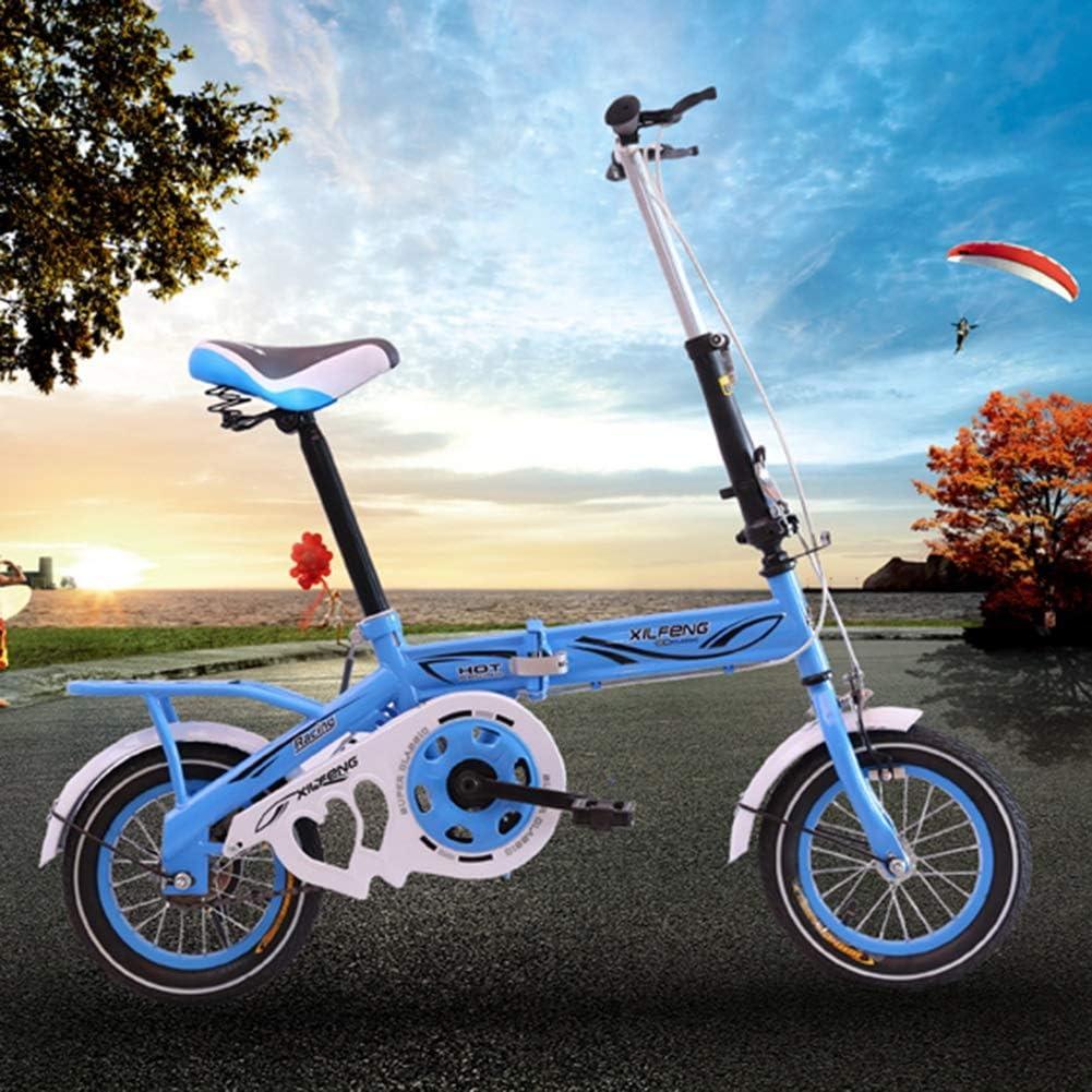 DSHUJC 14 Pulgadas Plegable Mini Ultraligero port/átil Adultos ni/ños Estudiantes Hombres y Mujeres Rueda peque/ña Velocidad Variable Doble Freno de Disco Bicicleta