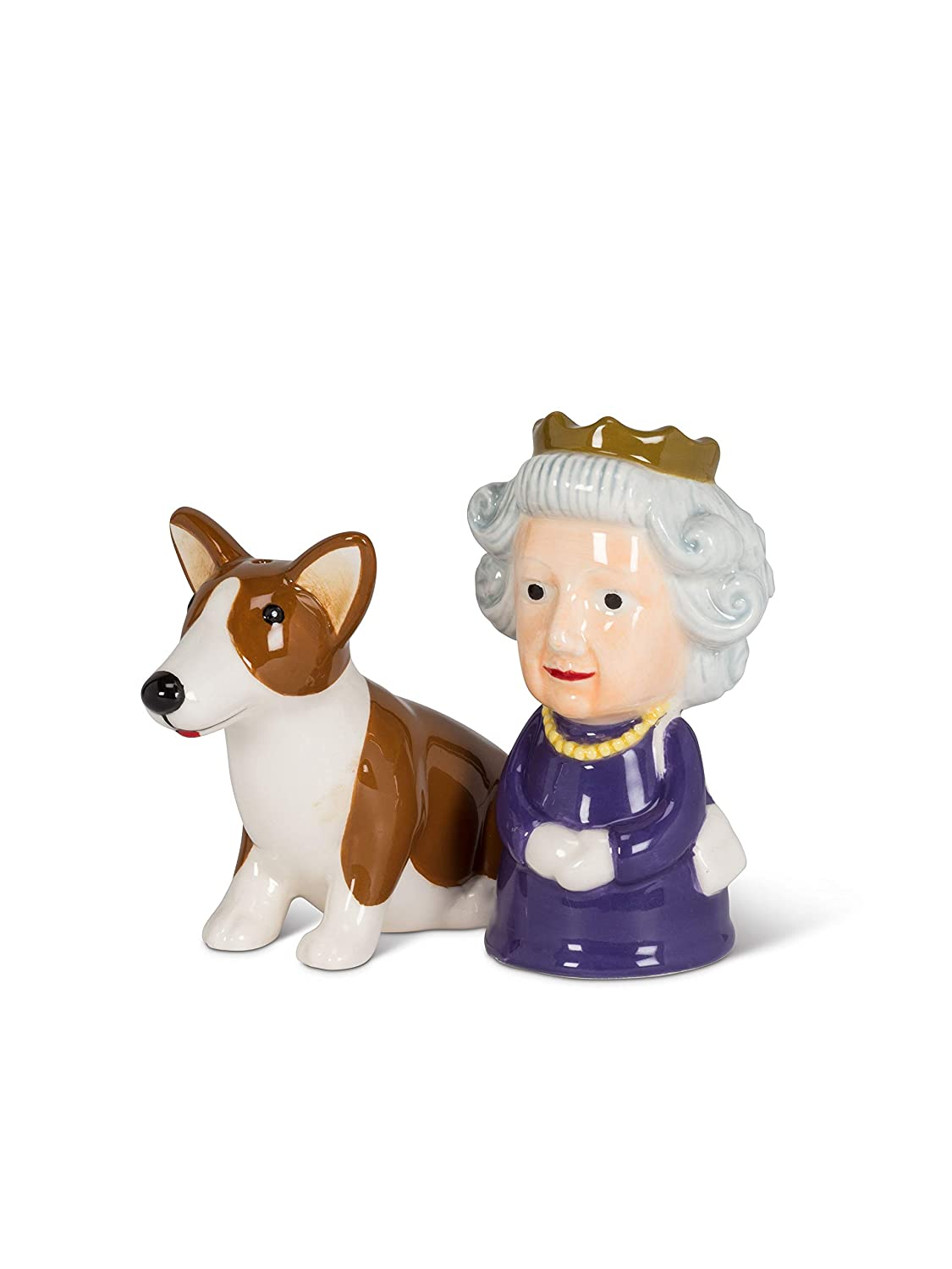 Abbott Collection 27-KITSCH-303 Queen and Corgi Salt & Pepper-3.5 H, 3.5 inches high, Multi-Color PURCHI