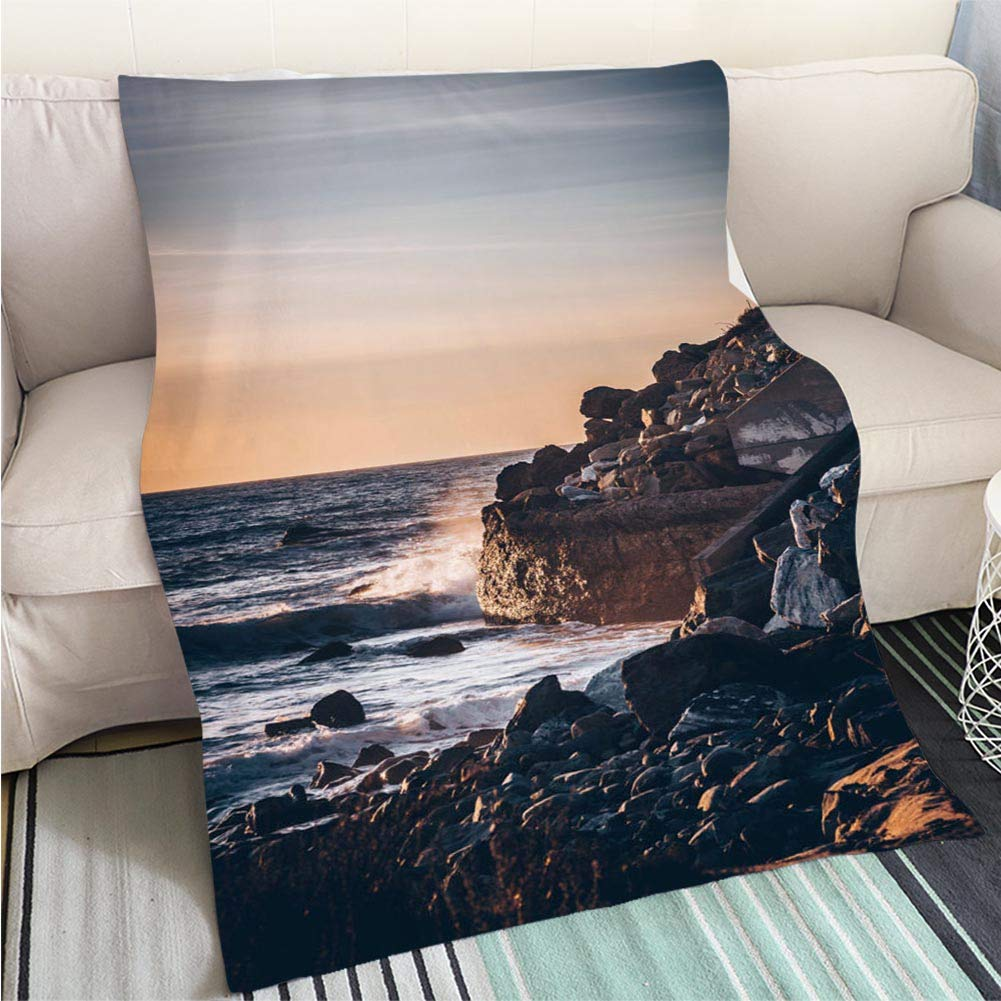 color11 39 x 59in Creative Flannel Printed Blanket for Warm Bedroom Sunset in Mountains Perfect for Couch Sofa or Bed Cool Quilt