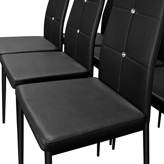 6 Esszimmerstühle Stuhl Hochlehner Polsterstuhl Sitzgruppe Essgruppe  Esszimmerstuhl Schwarz: Amazon.de: Küche U0026 Haushalt