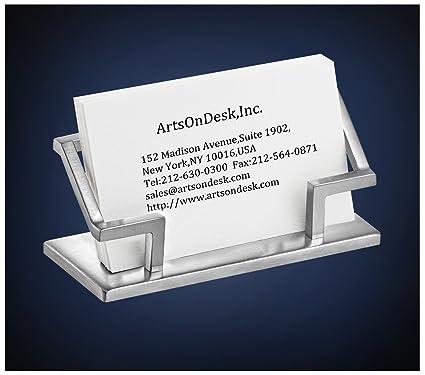 USA ArtsOnDesk Arte Moderno Soporte Para Tarjeta de Visita St201 Acero Inoxidable Acabado Satinado Titular de la Tarjeta de Visita Tarjetero de ...