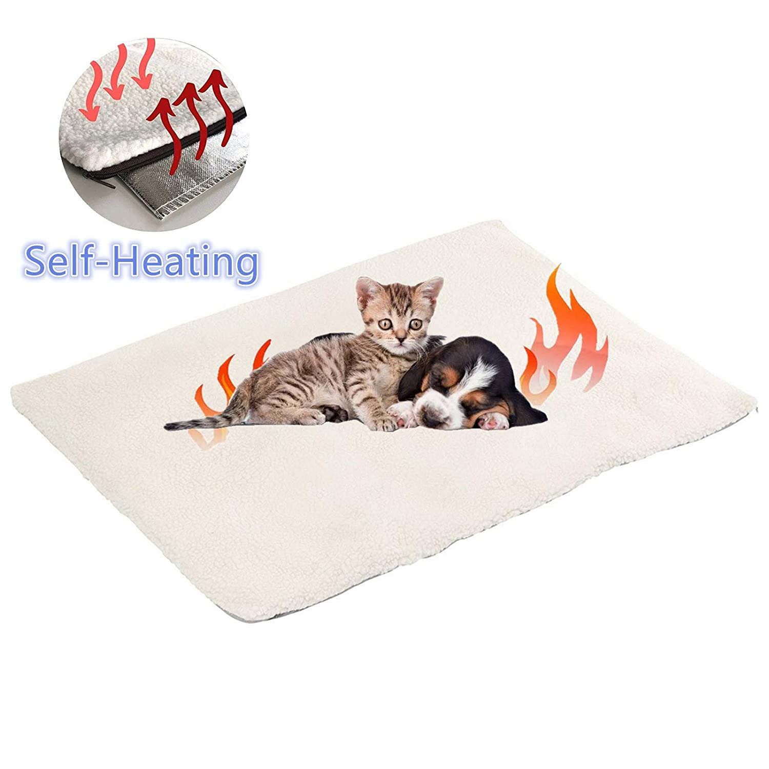 Klemon Self Heating Pet Pads Pet Blanket for Cat/Dog,Pet Heating Pad,Self Warming Cushion Mat for Cats Dogs,Self Heated Cat Dog Bed/Pet Thermal Mat Blanket Ecological