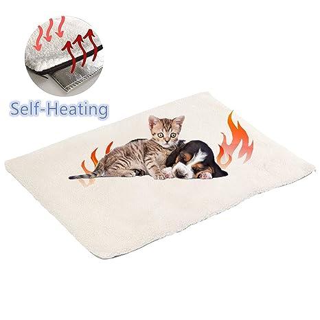 Manta autocalentable para Gatos & Perros,Manta Eléctrica para Mascotas Prueba de Agua Almohadillas,Manta térmica,sin Electricidad y baterías, Cojín de ...