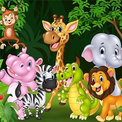 Amazon Com Ofila Animals Backdrop 5x5ft Kids Safari Theme Birthday