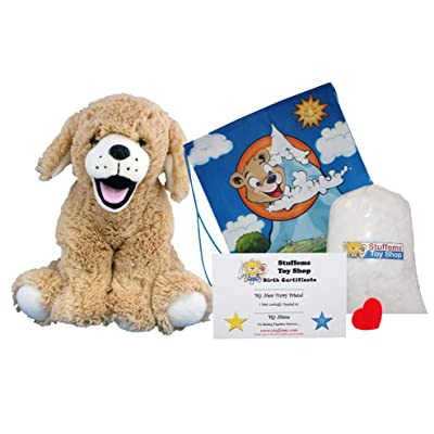 "Make Your Own Stuffed Animal ""Goldie The Lab/Retriever"" - No Sew - Kit With Cute Backpack!: Toys & Games"