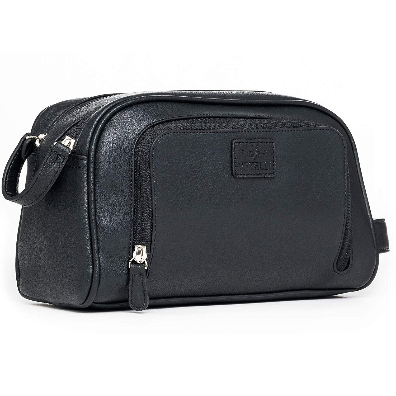 Vetelli Gio Leather Toiletry Bag for Men - Dopp Kit - Handmade for Travelling Vacations and Adventures (Black) by Vetelli
