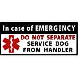 DO NOT SEPARATE Service Dog Handler Medical Alert Symbol Window or Bumper Sticker