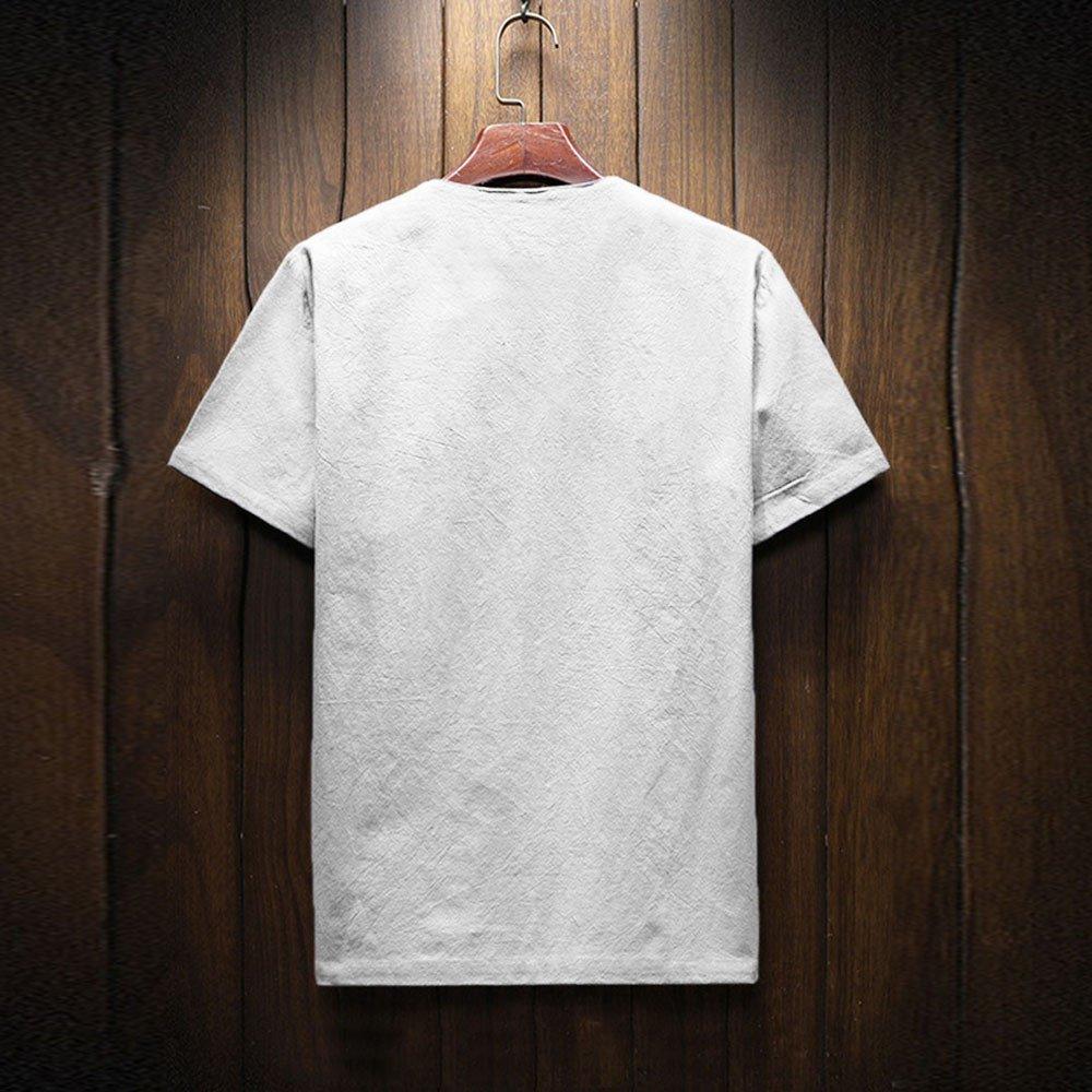 583ee63dfaef FRAUIT Sommer Herren Kurzarm Leinen Solid T-Shirt M ä nner T-Hemd Double  Pack v-neck  407 100 % Baumwolle Atmungsaktiv ...