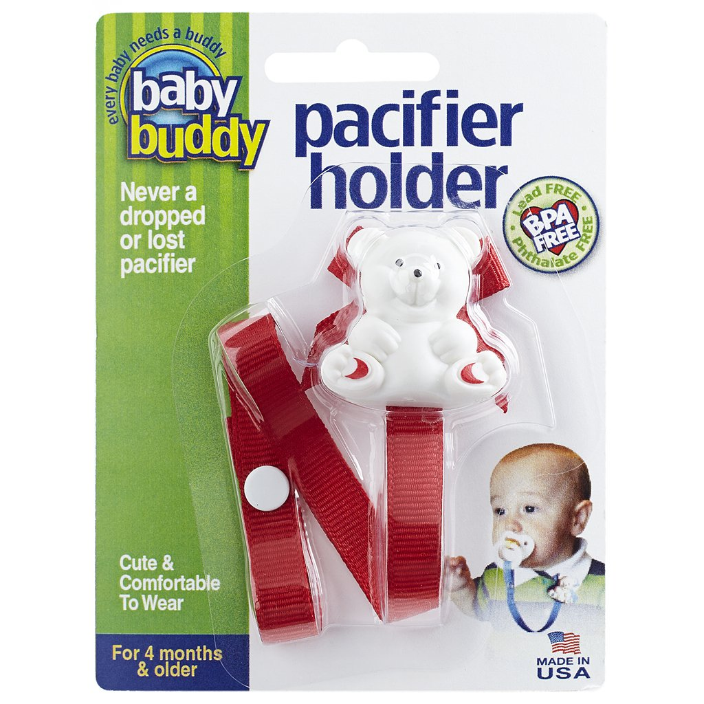 Baby Buddy Pacifier Holder Clip - Cute Fashionable Bear Clips onto Baby's Shirt, Snaps to Paci, Teether, Toy - For Babies 4+ Months - Pacifier Clip for Toddlers Boys & Girls, Blue, 1 Count 00101B