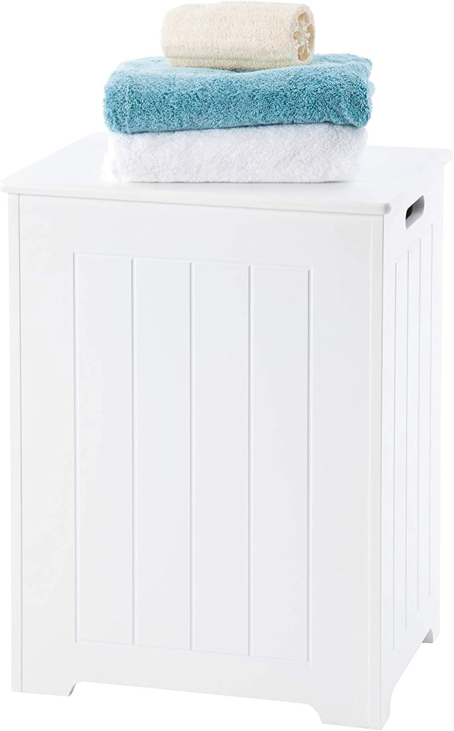 White Wooden Laundry Bin, Bathroom Storage Cabinet - tongue and groove style