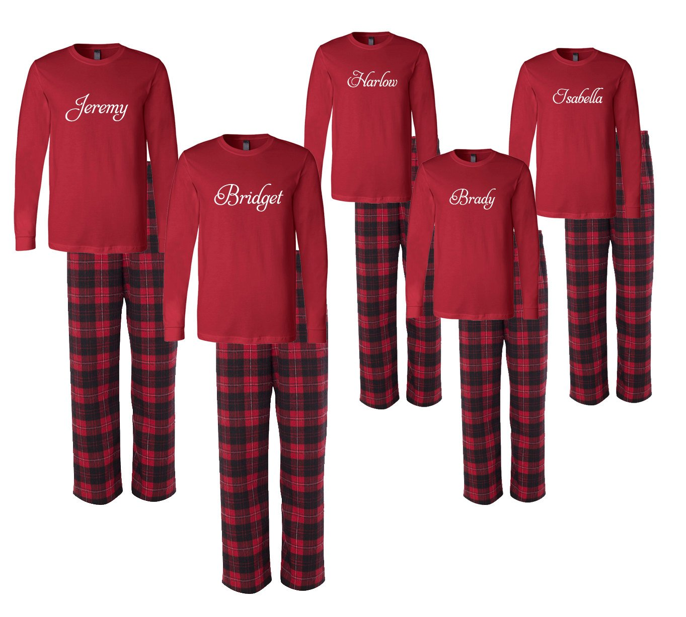 Personalized Family Christmas Pajamas - Black and Red (Set of 5)