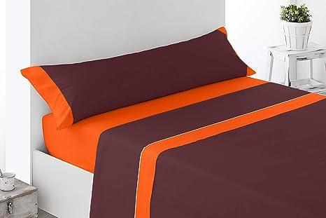 Cabetex Home - Juego de sábanas Lisas - Colores Combinados - 3 Piezas - Microfibra Transpirable (Naranja/Chocolate, 180_x_190/200 cm)