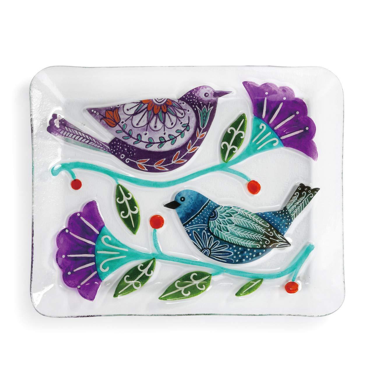 鳥と花 パープル ブルー 14 x 11 ビンテージ 手描き ガラス 大皿   B07MZDCJ1N