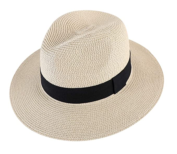 898e2f25310d6 Lanzom Men Wide Brim Straw Foldable Roll up Hat Fedora Summer Beach Sun Hat  UPF50+ (