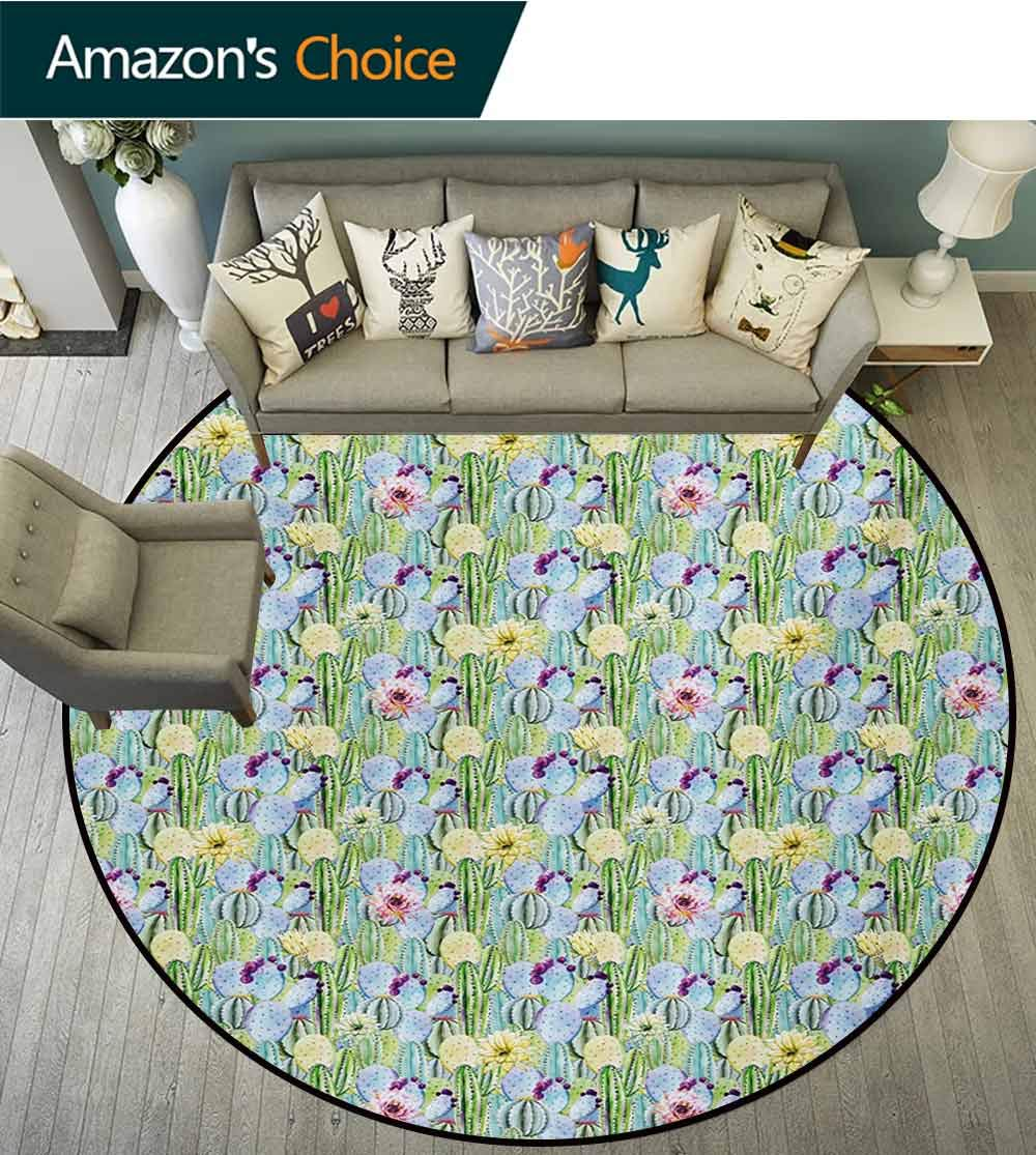 RUGSMAT Cactus Round Area Rug,Hand Drawn Watercolor Latin American Floral Arrangement with Botanical Inspirations Indoor/Outdoor Round Area Rug,Diameter-59 Inch Multicolor