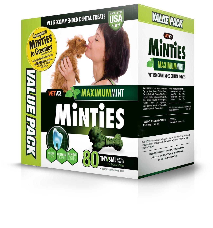 Vetiq Minties Dog Dental Bone Treats, Dental Treats For Dogs, Tiny/Small, 32Oz