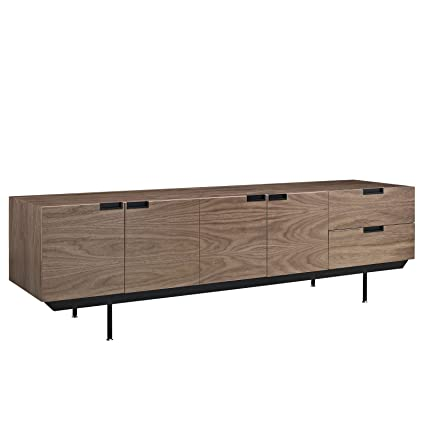 Modway Herald Flat Screen Tv Stand Credenza Sideboard Buffet Server In Dark Walnut Mid Century Modern 60 65 70 75 80 Inch Flat Screen