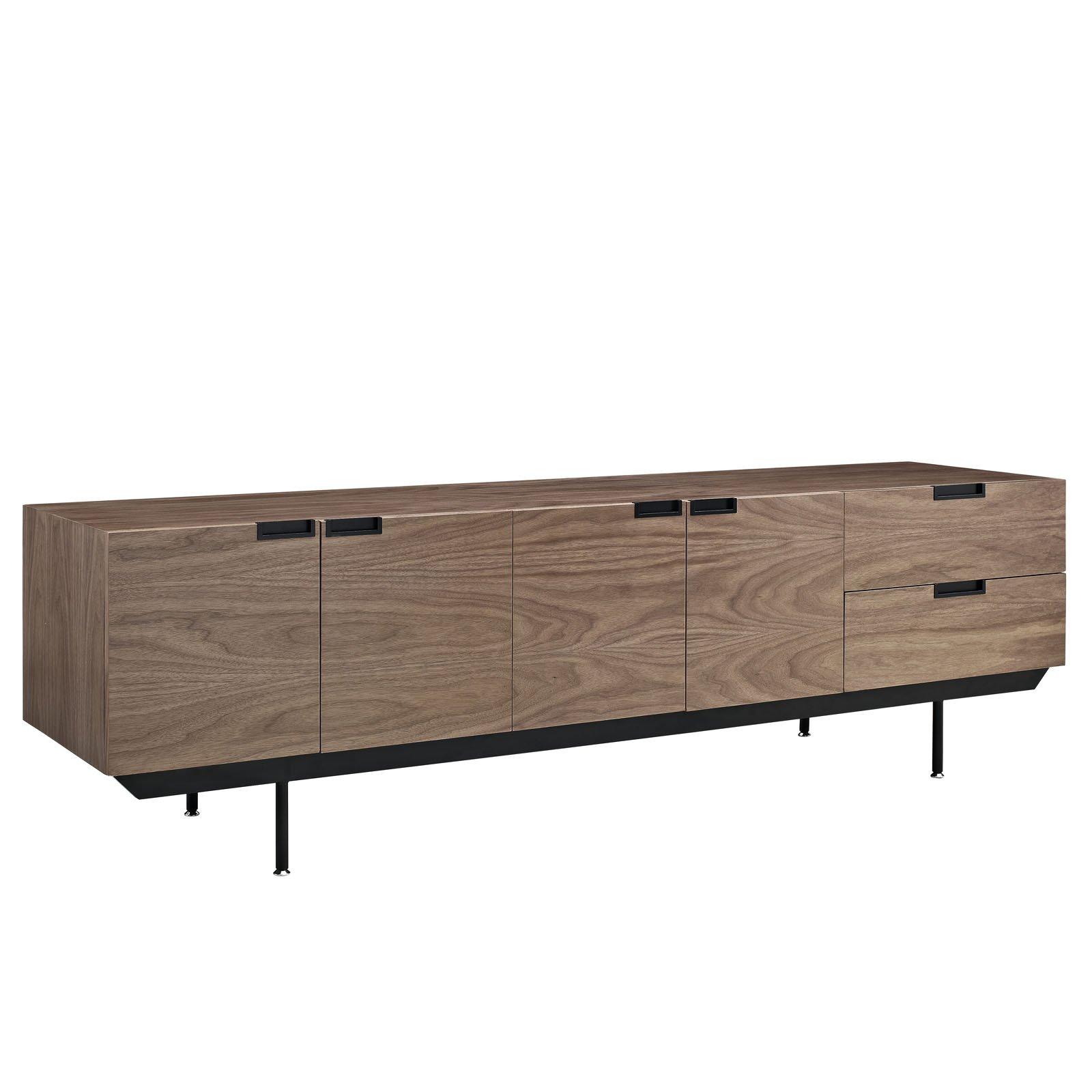 Modway Herald Flat Screen TV Stand Credenza - Sideboard - Buffet Server In Dark Walnut - Mid-Century Modern - 60 - 65 - 70 - 75 - 80 Inch Flat Screen