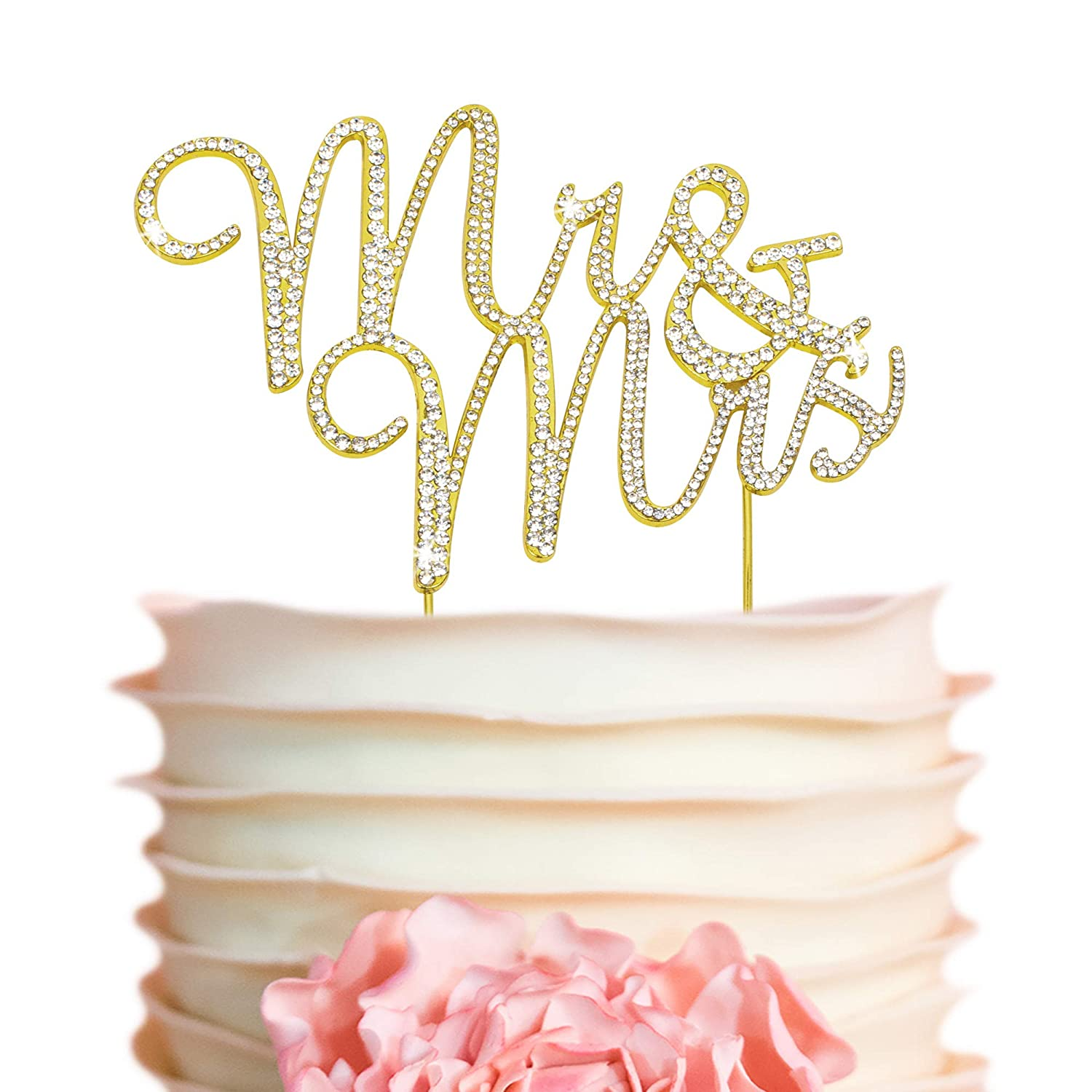 Mr And Mrs Wedding Cake Topper Premium Gold Metal Sparkly Wedding Or Anniversary Cake Topper Now Protected In A Box Amazon Com Grocery Gourmet Food