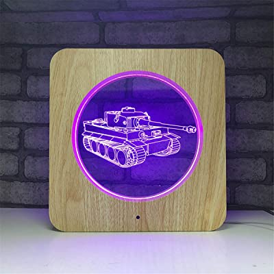 Bella House Lovely Visual Tank 3D Illusion Wood Night Light Remote Control 7 Colors Change Mood Lighting Desk Table Glow LED Lamp Art Sculpture Beside Lights Toy Gift with Acrylic Flat: Home & Kitchen